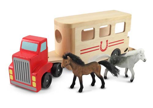 Melissa and Doug Horse Carrier Wooden Vehicles Play Set - All-Star Learning Inc. - Proudly Canadian