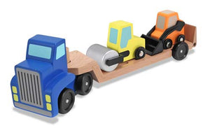 Melissa and Doug Low Loader Wooden Vehicles Play Set - All-Star Learning Inc. - Proudly Canadian