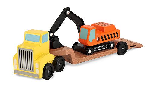 Melissa and Doug Trailer & Excavator Wooden Vehicles Play Set - All-Star Learning Inc. - Proudly Canadian