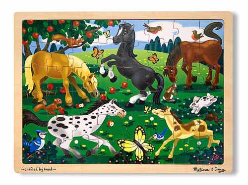 Melissa and Doug Frolicking Horses Jigsaw Puzzle - 48 Pieces - All-Star Learning Inc. - Proudly Canadian