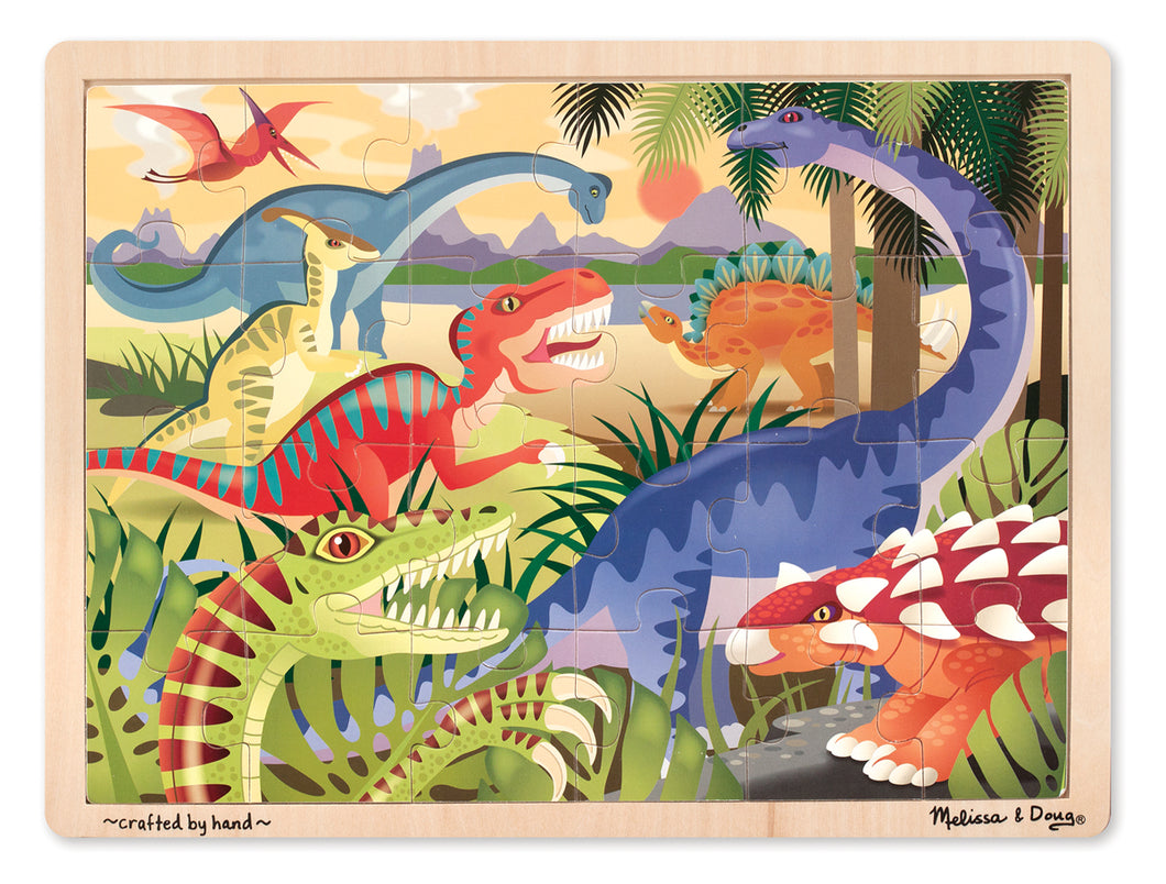 Melissa and Doug Dinosaur Wooden Jigsaw Puzzle - 24 Pieces - All-Star Learning Inc. - Proudly Canadian