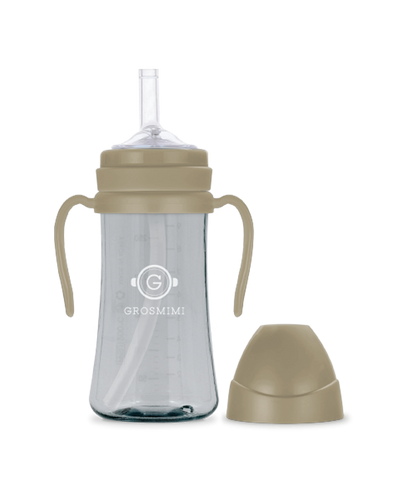 Grosmimi PPSU Feeding Bottle with Straw 300ml (Cream Beige) - All-Star Learning Inc. - Proudly Canadian