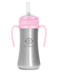 Grosmimi STAINLESS Straw CUP 200ml (Pink) - All-Star Learning Inc. - Proudly Canadian