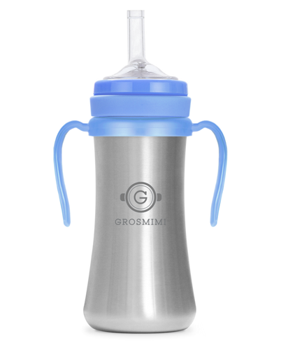 Grosmimi STAINLESS Straw CUP 200ml (Sky blue) - All-Star Learning Inc. - Proudly Canadian
