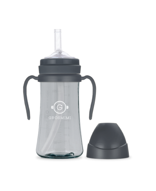 Grosmimi PPSU Feeding Bottle with Straw 300ml (Charcoal) - All-Star Learning Inc. - Proudly Canadian