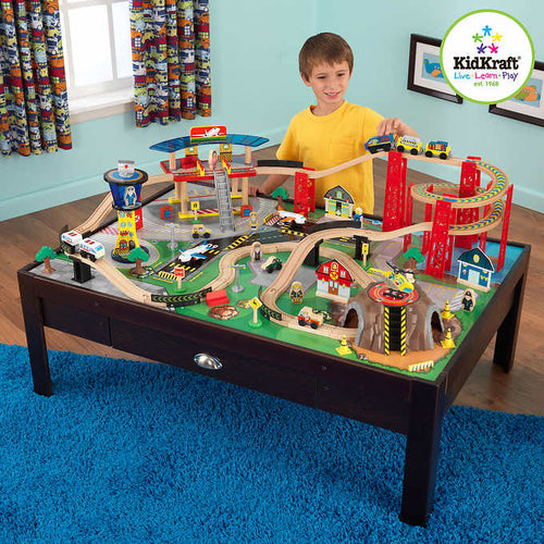 KidKraft Airport Express Train Table Set - Espresso - All-Star Learning Inc. - Proudly Canadian