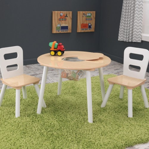 KidKraft Round Storage Table & Chair Set- Natural & White - All-Star Learning Inc. - Proudly Canadian