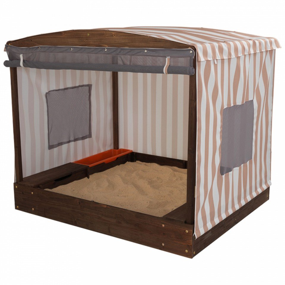KidKraft Cabana Sandbox With Beige & White Stripes - All-Star Learning Inc. - Proudly Canadian