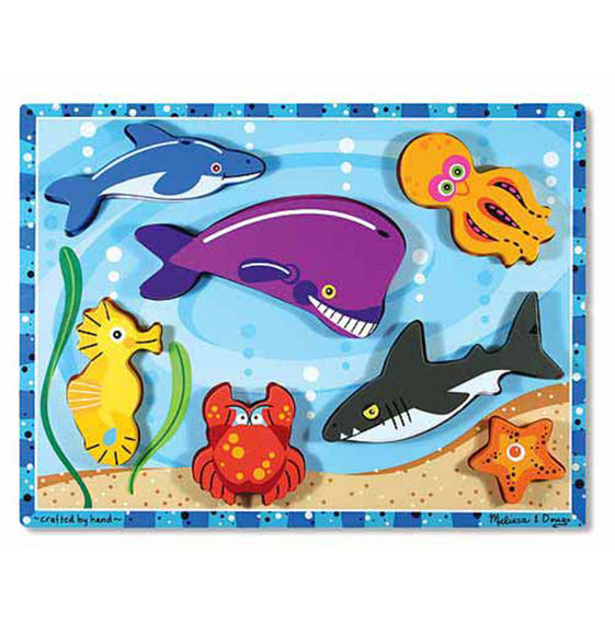 Melissa and Doug Sea Creatures Chunky Puzzle - 7 Pieces - All-Star Learning Inc. - Proudly Canadian