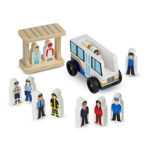 Melissa and Doug Classic Wooden Toy - Off to Work Bus Set - All-Star Learning Inc. - Proudly Canadian