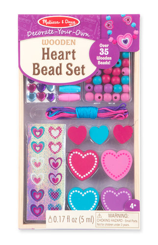 Melissa and Doug Decorate-Your-Own Wooden Heart Bead Set - All-Star Learning Inc. - Proudly Canadian