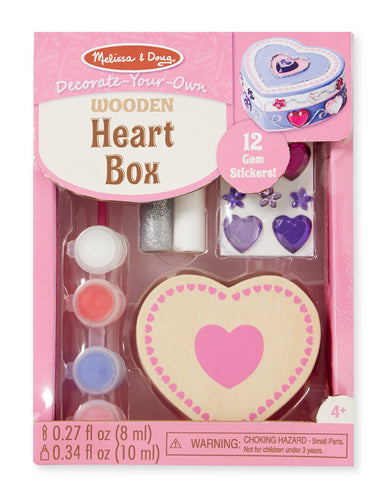 Melissa and Doug Decorate-Your-Own Wooden Heart Box - All-Star Learning Inc. - Proudly Canadian