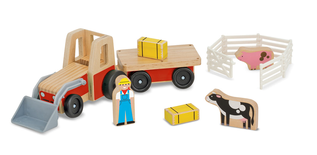 Melissa and Doug Classic Wooden Farm Tractor Play Set - All-Star Learning Inc. - Proudly Canadian