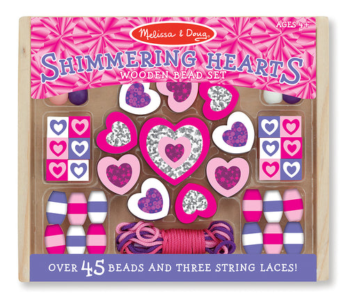 Melissa and Doug Shimmering Hearts Wooden Bead Set - All-Star Learning Inc. - Proudly Canadian