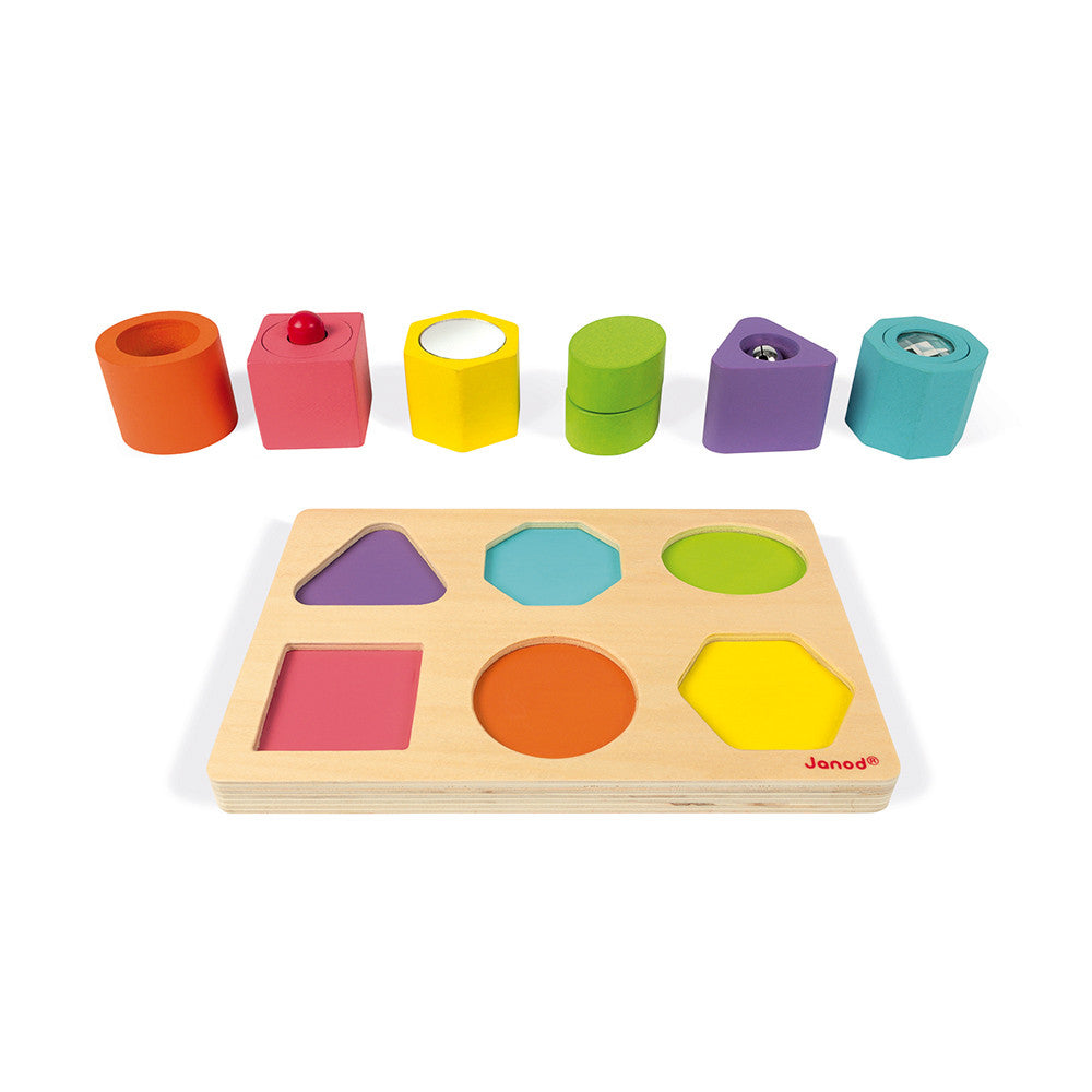 Janod I Wood Shapes & Sounds 6-Block Puzzle - All-Star Learning Inc. - Proudly Canadian