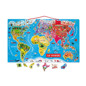 Janod Magnetic World Map Puzzle French Version 92 Pieces (Wood) - All-Star Learning Inc. - Proudly Canadian