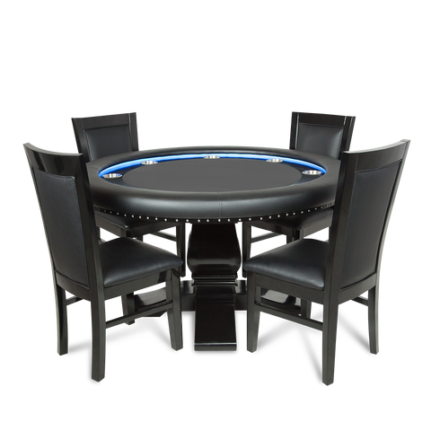 Ginza Led Round 4 Person Poker Table With Dining Top And 4 Dining Chairs