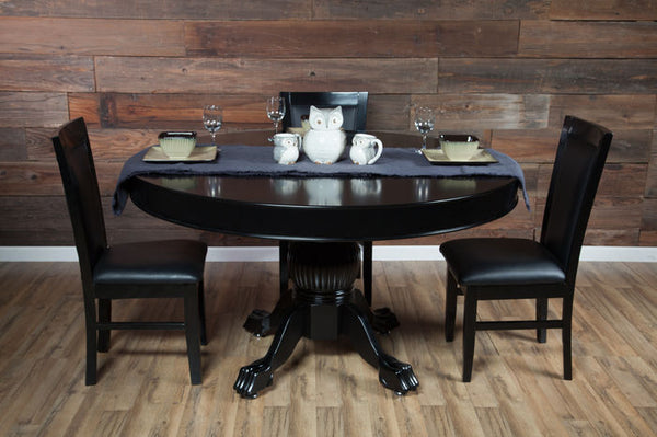 Levity 4 Person Poker And Multi Game Table With Dining Top And 4 Dining Chairs
