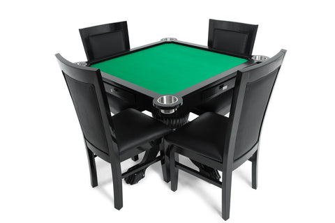 Levity Green 4 Person Poker And Multi Game Table With 4 Dining Chairs