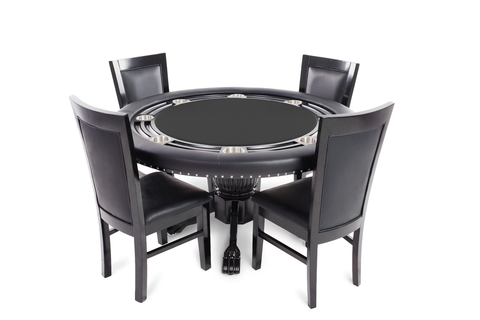 Nighthawk Round 4 Person Poker Table Set With Dining Top And 4 Dining Chairs