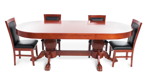 Rockwell Mahogany Oval 8 Person Poker Table with Dining Top and 8 Dining Chairs  sc 1 st  iPokerTable & Rockwell Mahogany Oval Red Felt 8 Person Poker Table Set u2013 iPokerTable