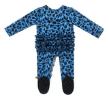 Leopard Bamboo Ruffled Zippered Footed Onesie