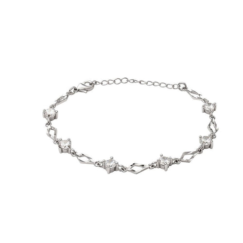 Aurora 18K White Gold-Plated Gemstone Link Bracelet 2.64 Ctw