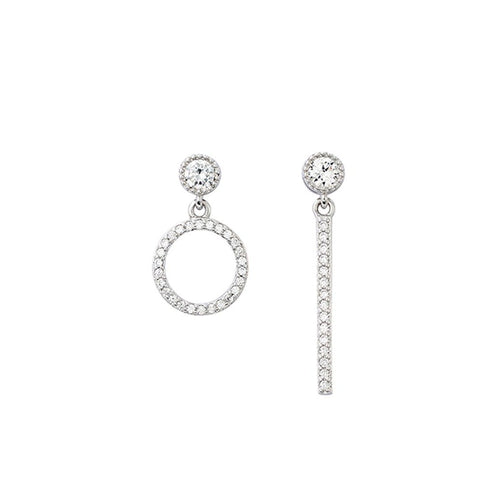 Aurora 18K White Gold-Plated Asymmetric Earrings 0.57 Ctw