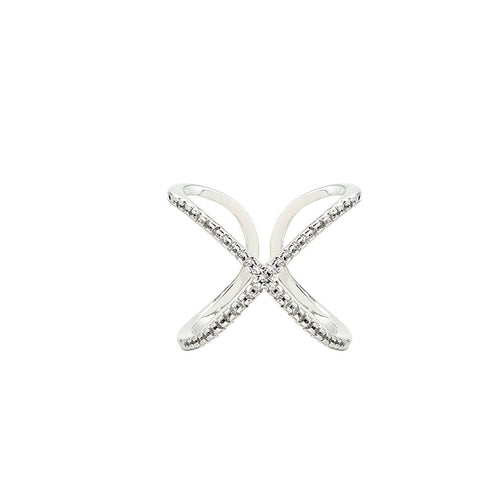 Lafayette 18K White Gold-Plated Wrap Ring 0.45 Ctw