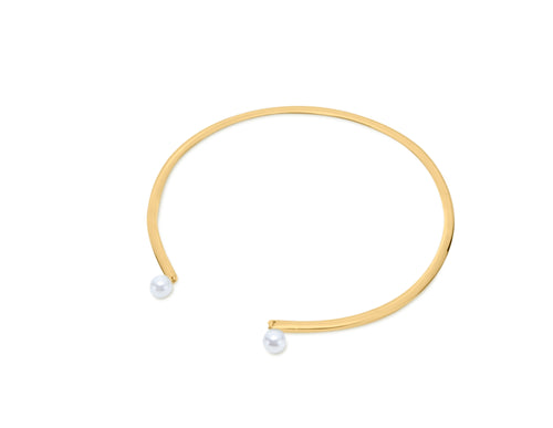 Sorelle 18K Gold Plated Fresh Water Pearl Open Necklace