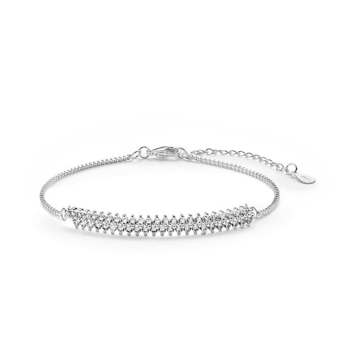 Natalie, Silver-Plated, 1.4 Ctw Double-Shoulder Bracelet