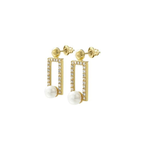 Nile Pearl i n A Box 18K Yellow Gold - Plated Earrings 0.72 Ctw