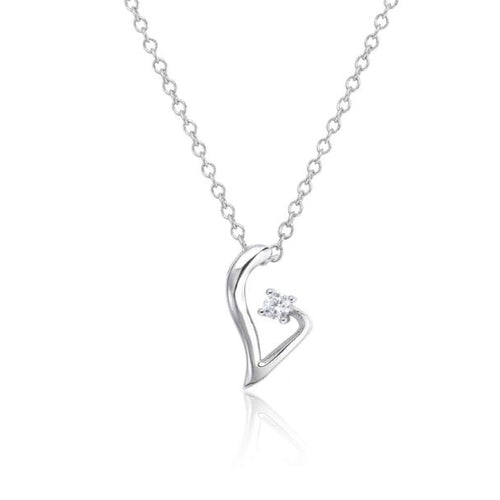 Symphony Grace 18K White-Gold Plated 0.3 Ctw Heart of the Valley Pendant