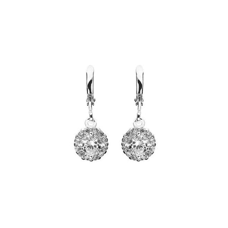 Symphony Faye 18K White-Gold Plated 2.6 Ctw Button Drop Earrings