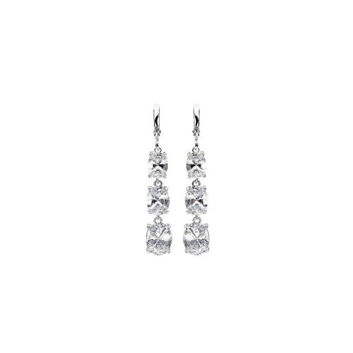 Karine in the Rain, Silver-Plated, 11.2 Ctw Trio-Drop Earrings