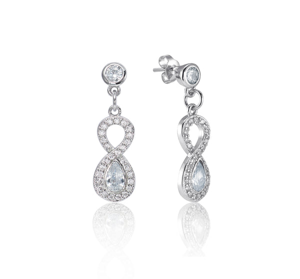 Symphony Aria 18K White-Gold Plated 1.3 Ctw Woven Loop Earrings