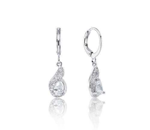 Symphony Ella 18K White-Gold Plated 1.2 Ctw Paisley Drop Earrings