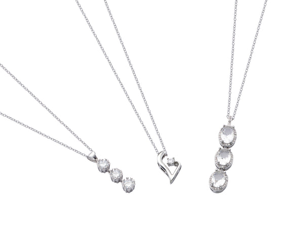 Symphony Avery 18K White-Gold Plated 7.9 Ctw Trio Cascade Pendant