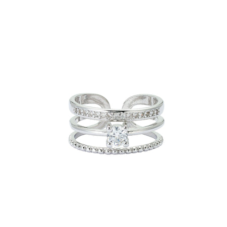 Aurora 18K White Gold-Plated Echo Ring with Pavé Gemstones 0.52 Ctw