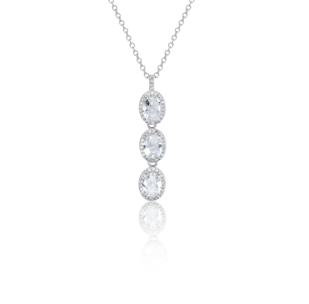 Rhea 18K White Gold-Plated Gemstone Pendant