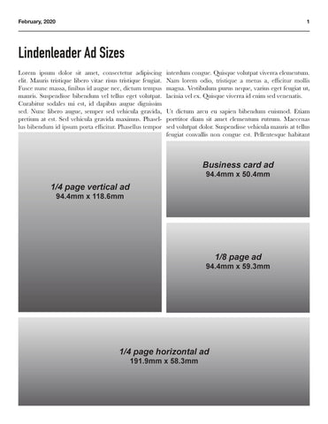 BUSINESS CARD ADVERTISEMENT - LINDENLEADER