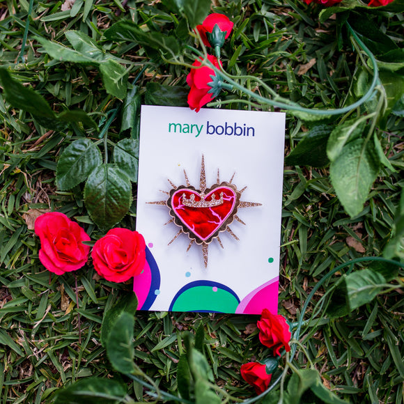 Queen of Hearts Brooch by Mary Bobbin