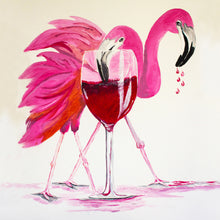 "Load image into Gallery viewer, ""Flamingo Happy Hour"" Art Print"