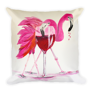 Flamingo Happy Hour • Square Pillow