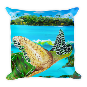 Large Green Turtle • Square Pillow