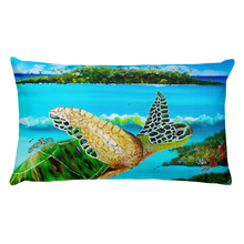 Large Green Turtle • Rectangle Pillow