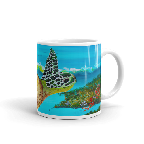 Large Green Turtle • Mug