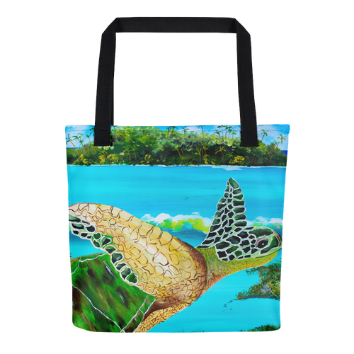 Large Green Turtle • Tote Bag