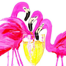 Load image into Gallery viewer, Three Flamingos In White Wine Art Print