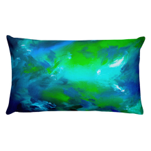 Blue green abstract rectangle pillow